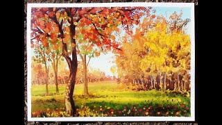 Осенний пейзаж гуашью. Поэтапный видео урок.