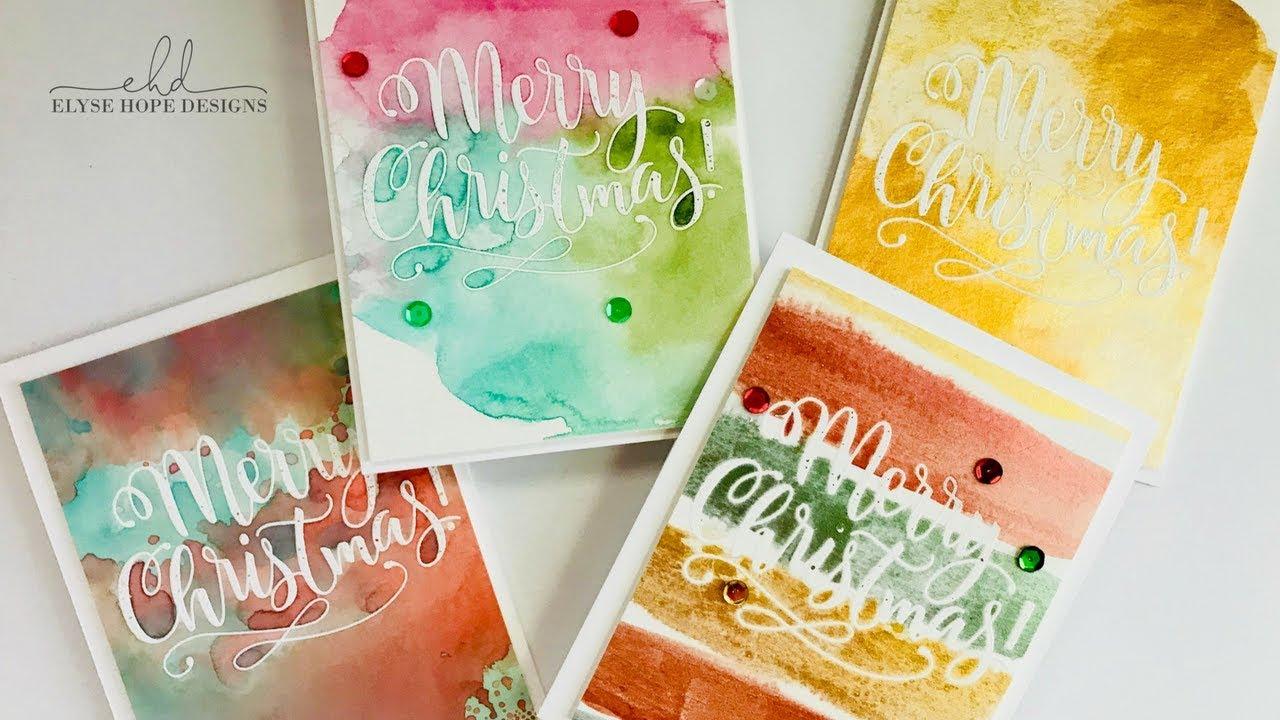 Easy Watercolor Christmas Cards--Mama Elephant - YouTube