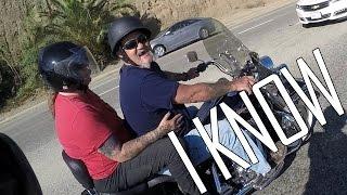 Biker Hits Mirror While Lane-splitting!