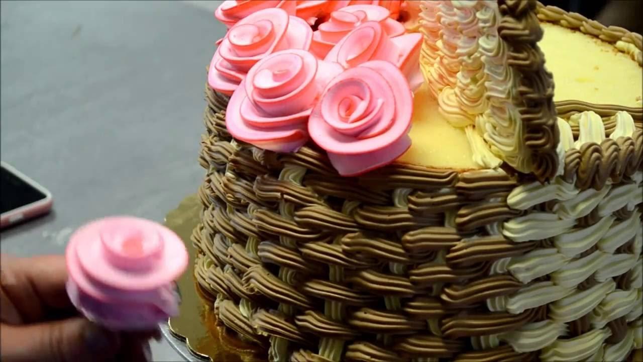 Украшение тортов Украшение торта корзины с цветами из