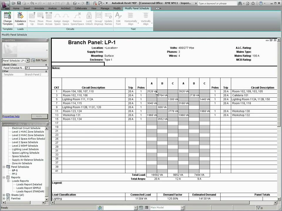 What\u0027s New in Revit MEP 2011 - Panel Schedule Templates - YouTube