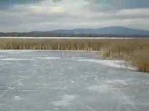 easy walking in frozen marsh