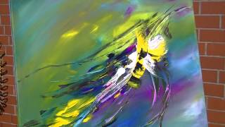 Repeat youtube video Abstract Painting Demonstration Abstrakte Acrylmalerei Bumblebee at Springtime