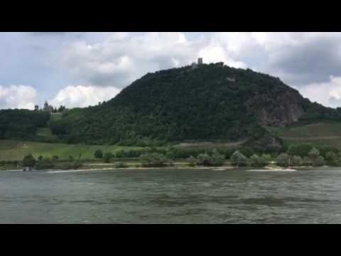 The Dragon Fall castle on the Rhine River above Konigswinter