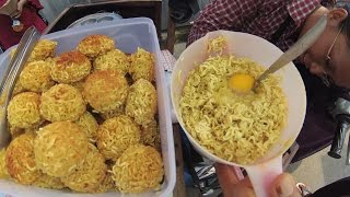 Jakarta Street Food 1287 MotorCycles Lady Sells Round Noodles Mie Bulet 5983