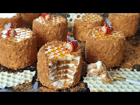 미니 허니 케이크 만들기 / Mini Russian Honey cake full of sweetness/ Medovik Recipe/ ミニハニーケーキ / मिनी शहद केक