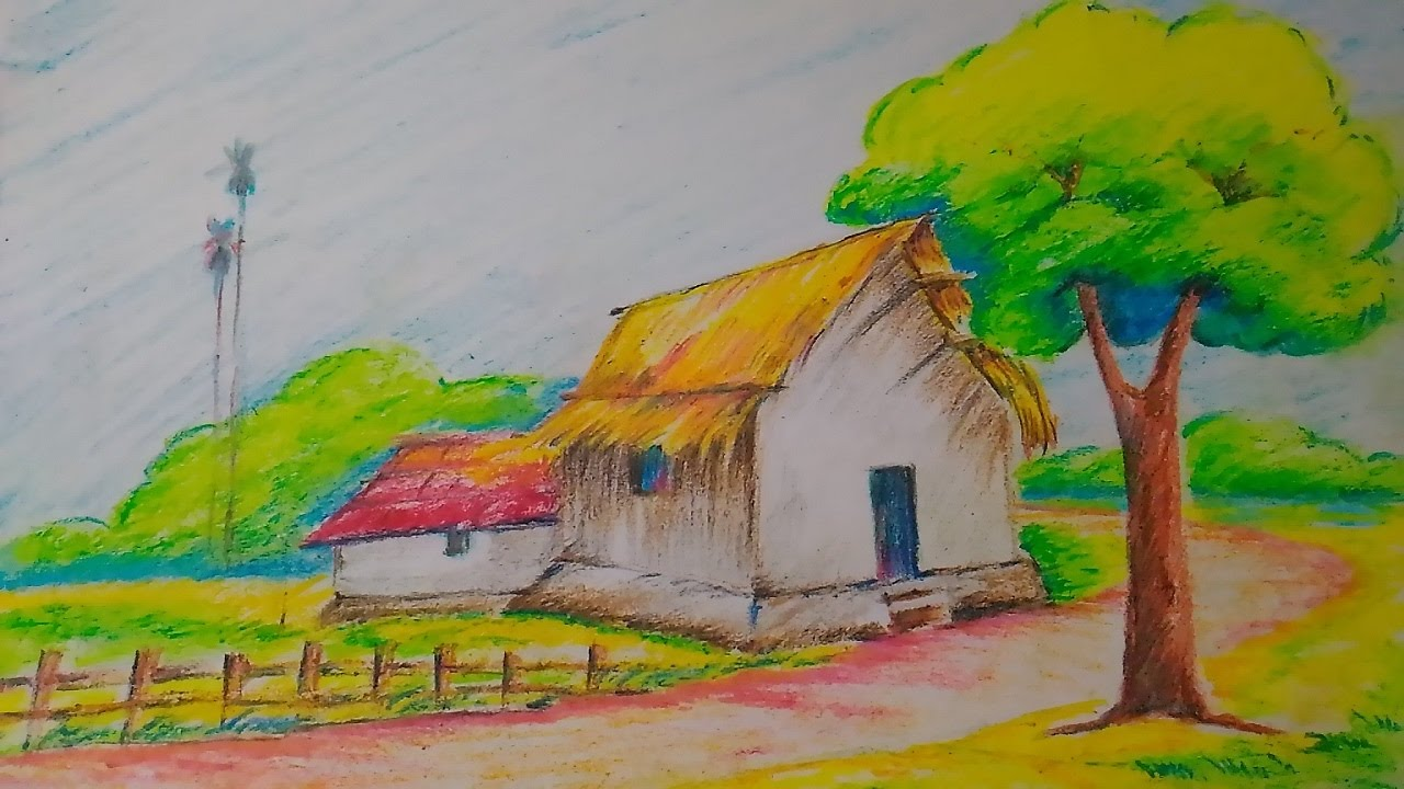 how to draw a village scenery step by step