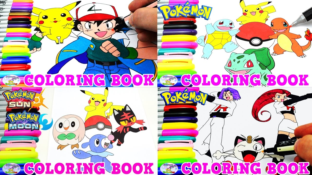 Pokemon Coloring Book Pikachu Ash Team Rocket Sun Moon Episode