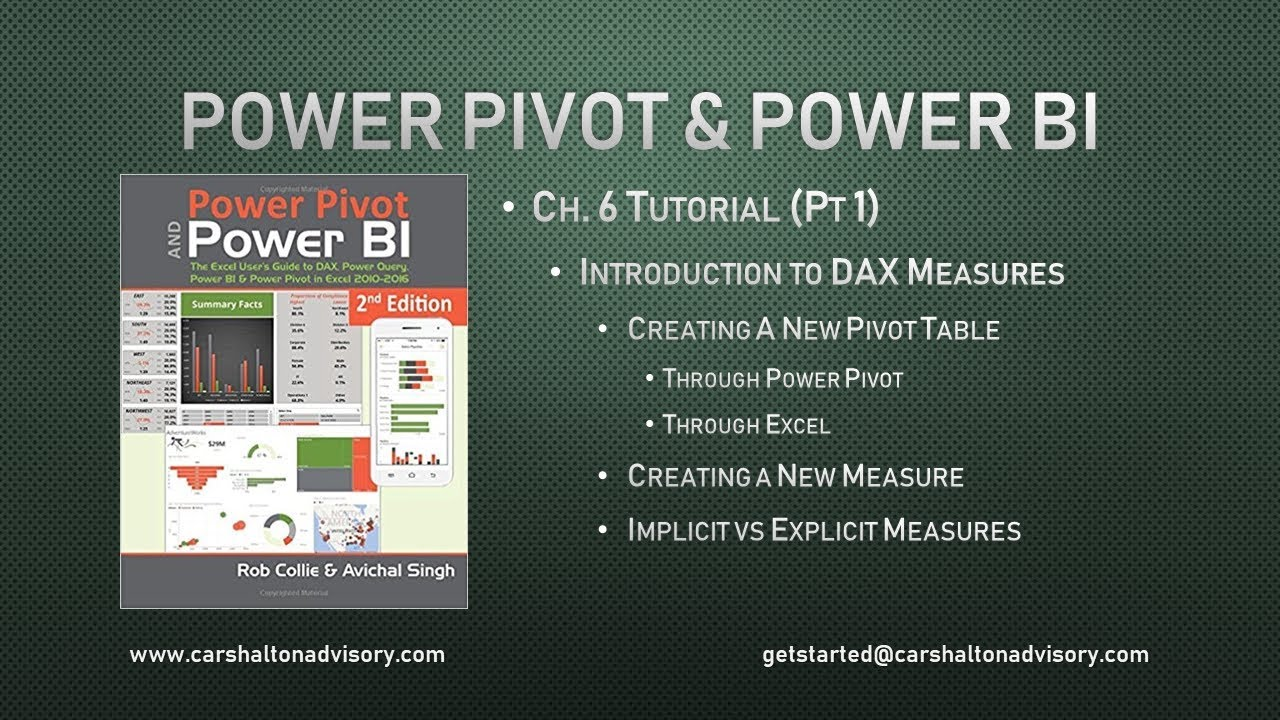 Ch 6 (1/3): 'Intro to DAX Measures' - Power Pivot and Power BI Tutorial
