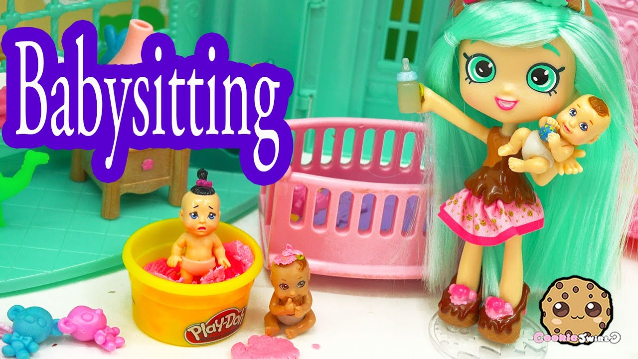 Peppa Mint Shopkins Shoppies Doll Babysits 3 Babies With