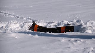 Landing in the Snow Big R/C Piasecki H-21 doubles Rotor SAR Rescue Helicopter