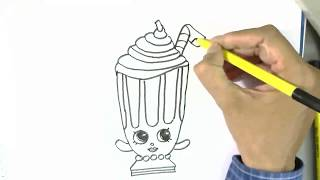 How to draw Millie Shake -Shopkins  in easy steps for children. beginners
