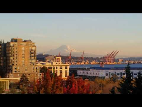 Seattle port and Mt. Rainier in the fall