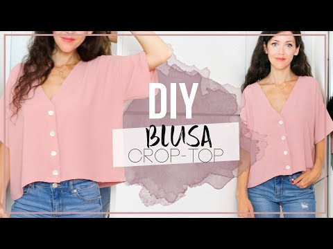 DIY #BLUSA CROP-TOP   Cómo hacer una blusa básica con botones ¡Incluye patrones!