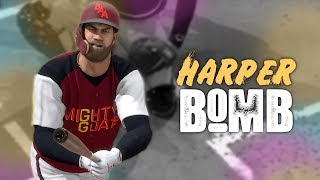Bryce Harpers First Hit Was A MOONSHOT! *Road To Goat Squad* MLB The Show 18   Ranked Seasons