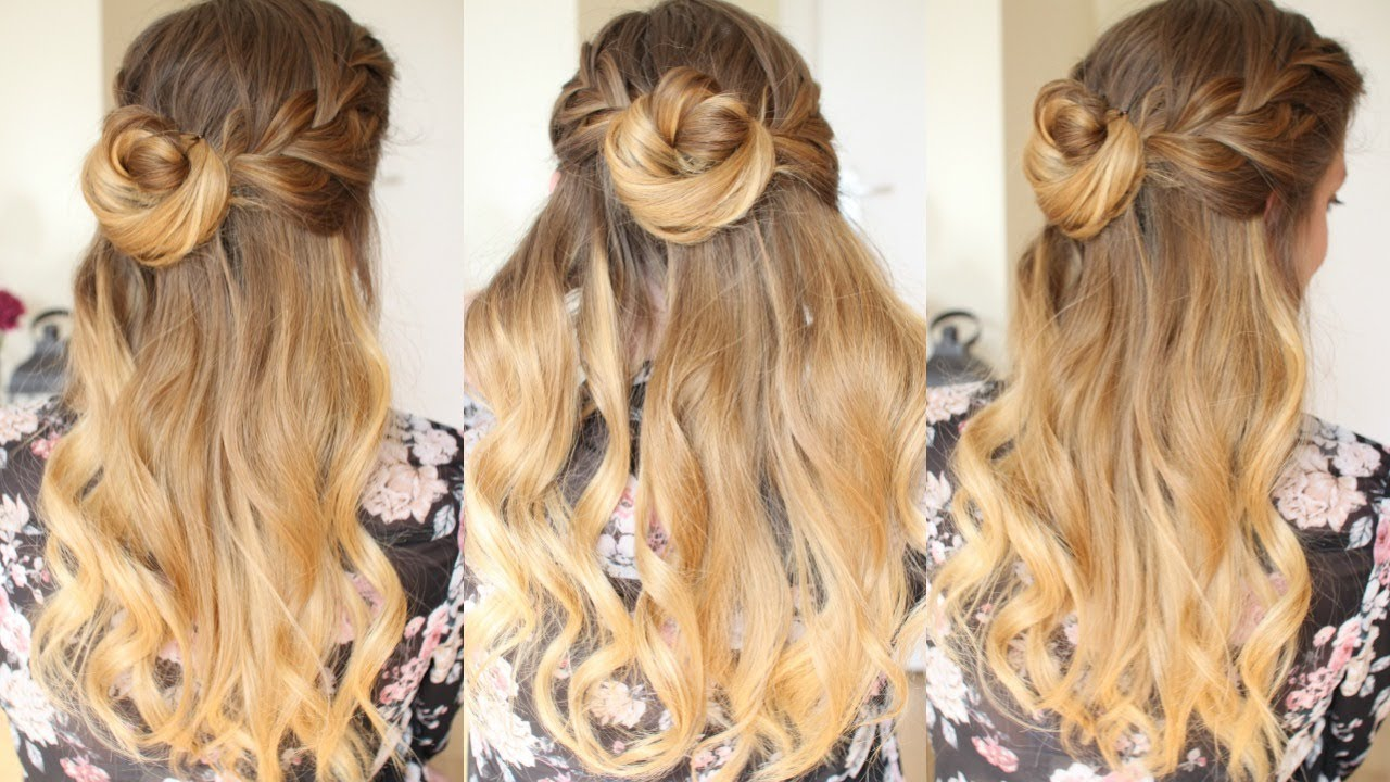 Quick And Easy Half Up Bun Hairstyle Formal Hairstyles