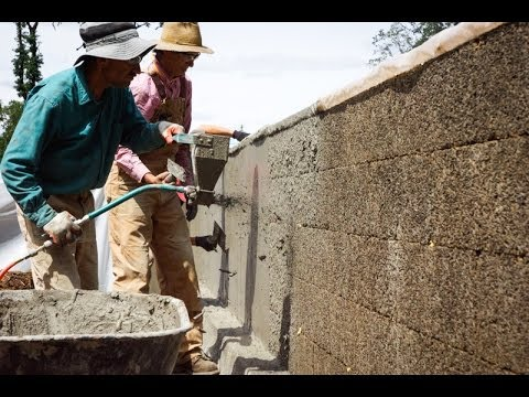 FasWall Sustainable Home Construction With A Mortar Sprayer and HERB-CRETE Stucco Core MIx