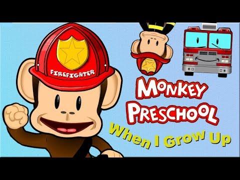 Kids Learn Occupations - Firefighter, Police, Doctor - Monkey Preschool When I Grow Up Kids Games |