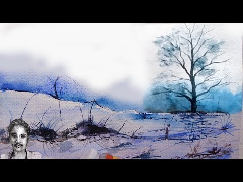 How to Draw a Landscape in Watercolor – Hills and trees painting