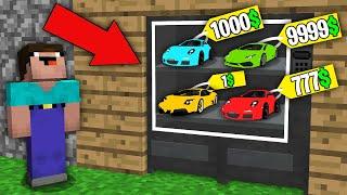 Minecraft NOOB vs PRO:WHICH RAREST SUPER CAR WILL WIN NOOB IN VENDING MACHINE?Challenge 100%trolling