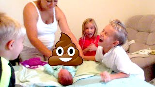 😂💩KIDS HILARIOUS REACTION CHANGING BABY'S POOPY DIAPER👶! KIDS CHANGE BABY DIAPER | DYCHES FAM
