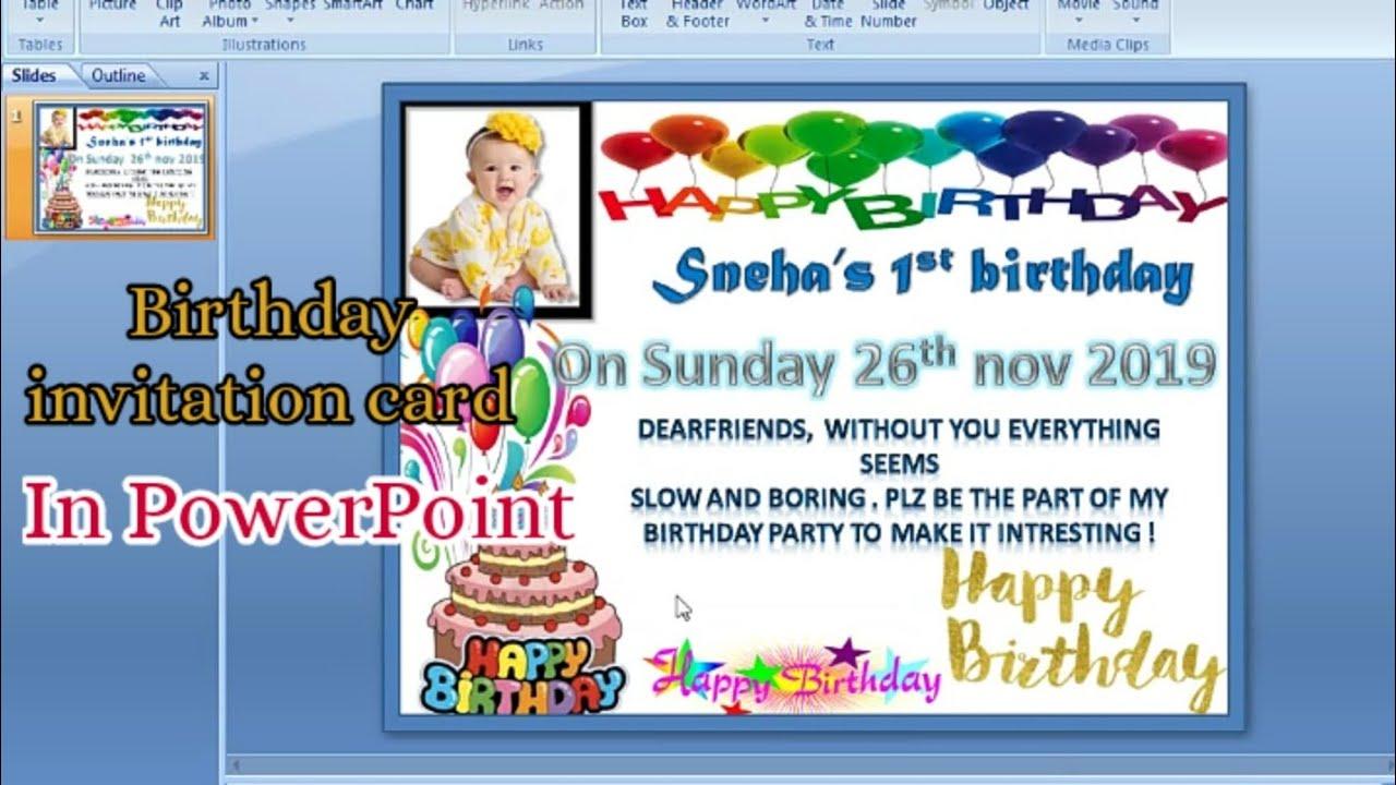 birthday invitation card in powerpoint