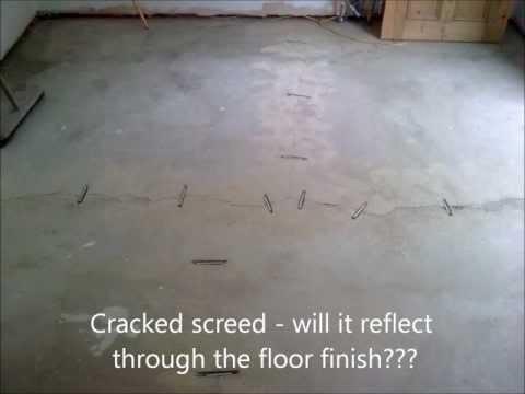 Cracked Screed Repair - Epoxy & Fibreglass Stitching.wmv