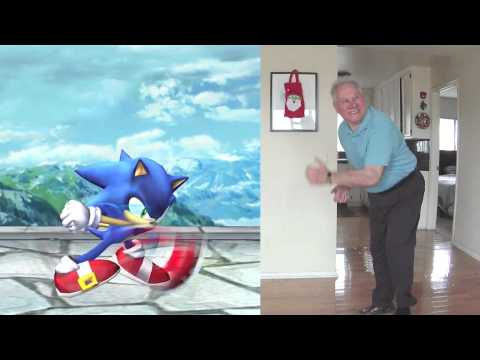 """Super Smash Bros. Brawl: Sonic """"You're Too Slow"""" reenacted by my Dad"""