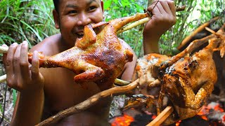 Survival Technique Cooking Chicken Recipe for Food - Grilled Chicken for Food eating delicious