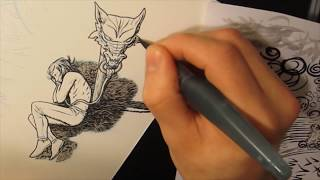 Adding washes with a Pentel Arts Aquash Water Brush [Excerpt from longer previous inking clip]