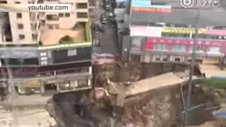 Очевидцы сняли на видео момент обрушения станции метро в Китае