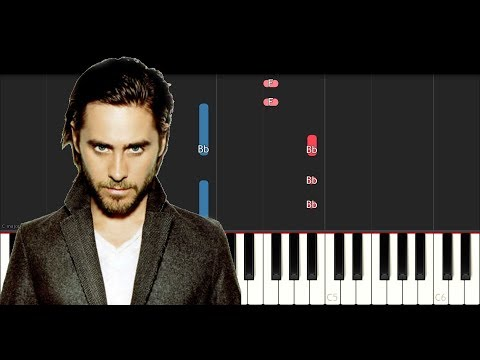 Thirty Seconds To Mars  Walk On Water SLOW EASY PIANO TUTORIAL