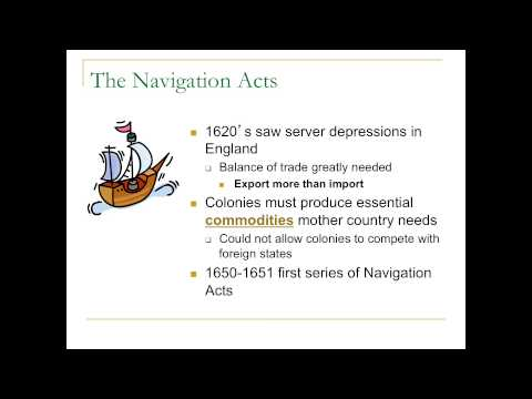 APUSH Lecture 5: Mercantilism and the Navigation Acts 9/1/2013