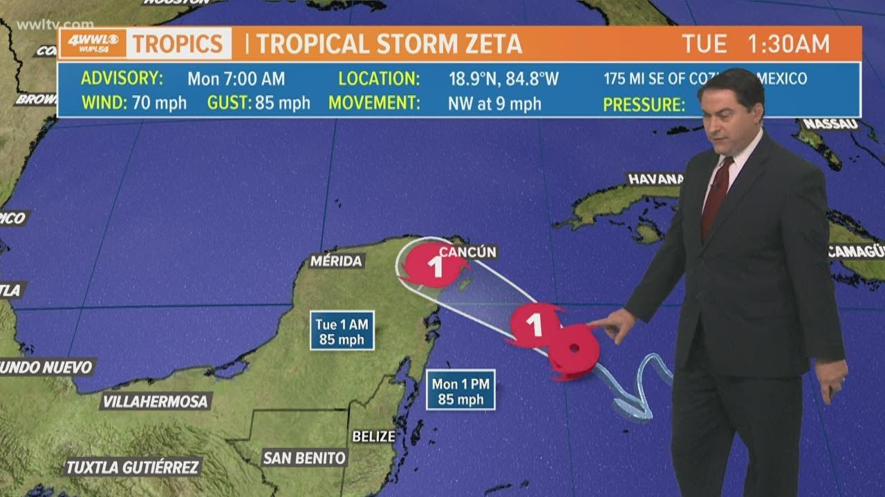 Monday 7 am Tropical Update: Zeta will be a hurricane Monday, Louisiana landfall expected