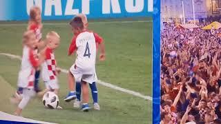 Worldcup 2018 Croatia football team let their mini-me on field