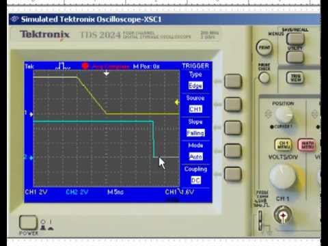 MultiSIM Simulation (4a) of a Digital Oscilloscope used to measure Logic  Gate Parameters