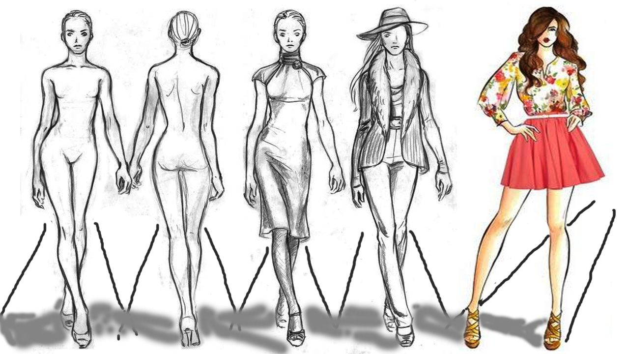 Fashion Figure Sketch Drawing Cartoon Figure Drawing Model