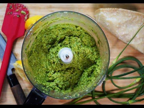 Garlic Scape Pesto (with blooper) #MeatFreeMonday | CaribbeanPot.com