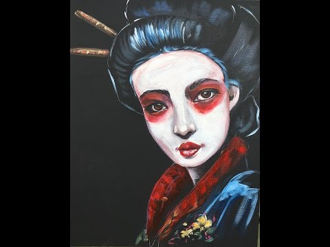 geisha inspired painting lesson in acrylic paint 5 about face big