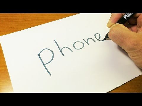 How to turn words PHONE into a Cartoon -  Let's Learn drawing art on paper for kids