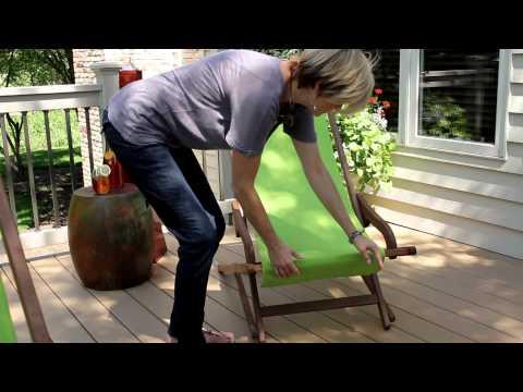 Outdoor Interiors Brazilian Eucalyptus & Sunbrella Lounger, Ottoman & Pillow