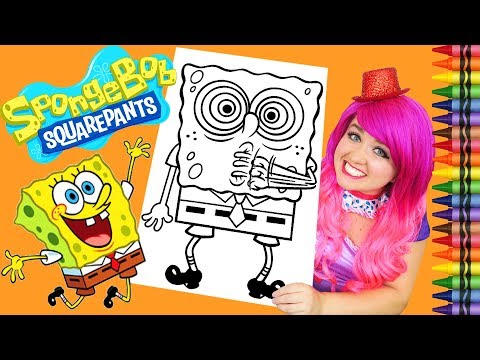 Coloring SpongeBob Squarepants GIANT Coloring Book Page Crayola Crayons | KiMMi THE CLOWN