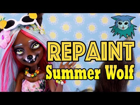 Doll Repaint: Summer Wolf Collab 🌴Canis Lupus Monster High custom