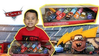 2018 PISTON CUP RACE 11 pack, Mater with LIGHTNING BOLT HAT, UNBOXING, CARS 3 GIVEAWAY