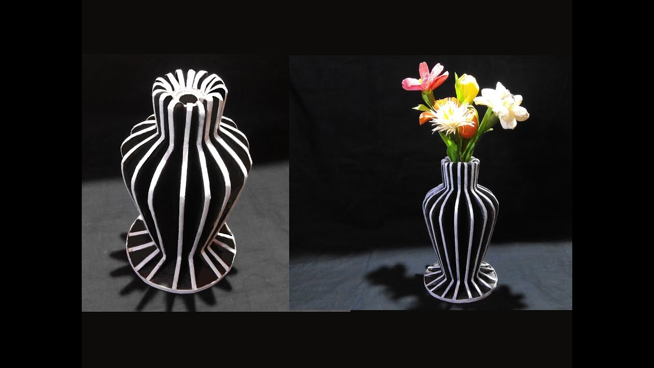 YouTube & How To Make Flower Vase With Newspaper and Cardboard / DIY Flower Vase / Best Out Of Waste