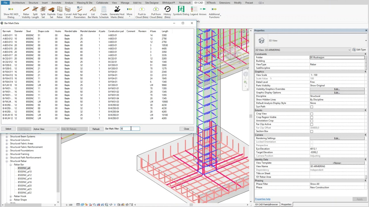 Revit - ISY CAD Rebar - List Bar Mark