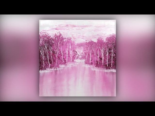 Simple Abstract Landscape / Acrylic Painting / Pink / Demo #016