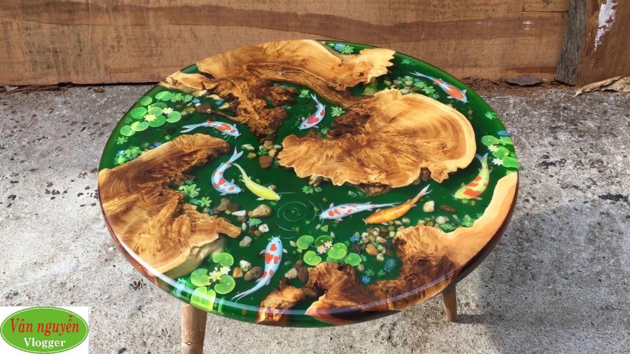 Bàn sofa gỗ nghiến kết hợp epoxy đẹp xuất sắc, kích thước 80 rộng cao 45cm, đẹp chuẩn từng cm