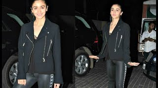 Alia Bhatt In Tight Leather Pant At Badrinath Ki Dulhania Screening