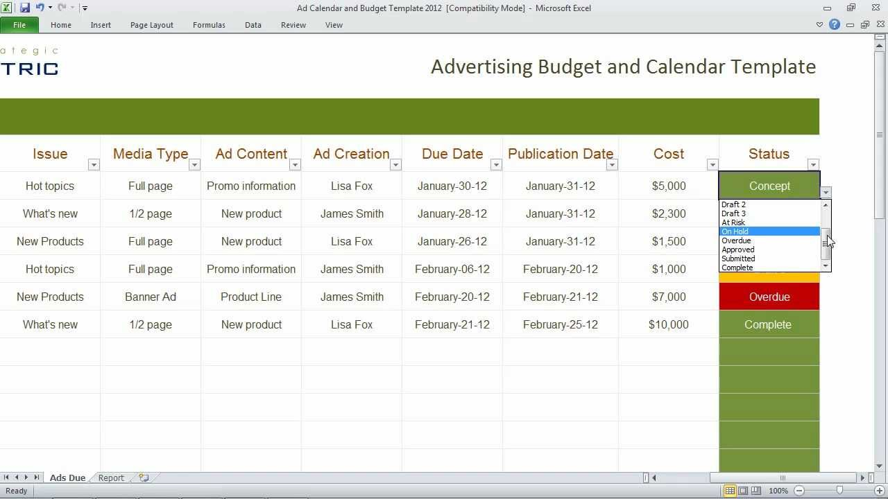Advertising Calendar and Budget Template Organize your – Interactive Budget Worksheet
